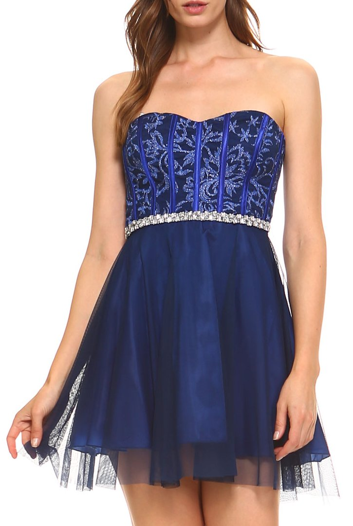 Teeze Me | Strapless Embroidered Corset Full Tulle Party Dress  | Royal