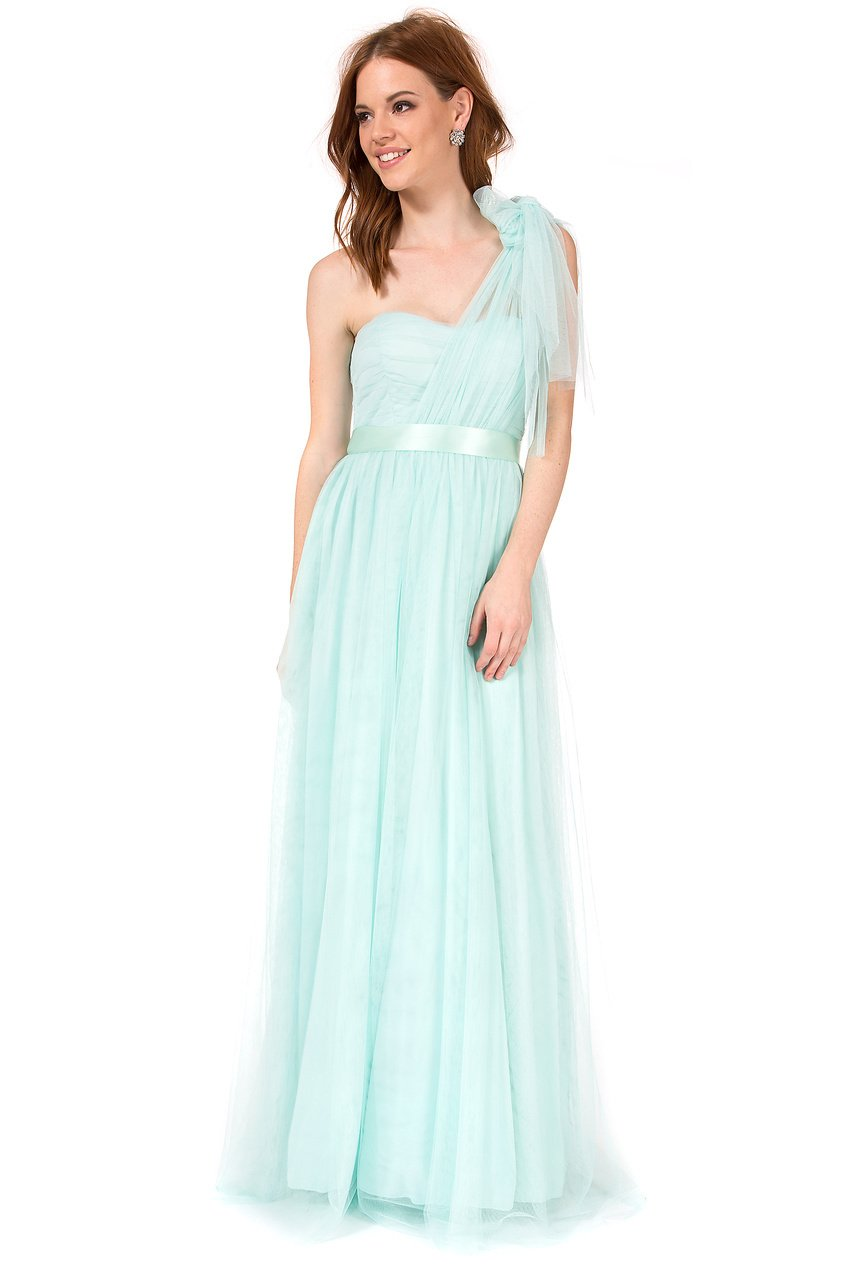 Teeze Me | Strapless Convertible Shirred Bodice Long Dress  | Seafoam | Teeze Me Juniors Apparel