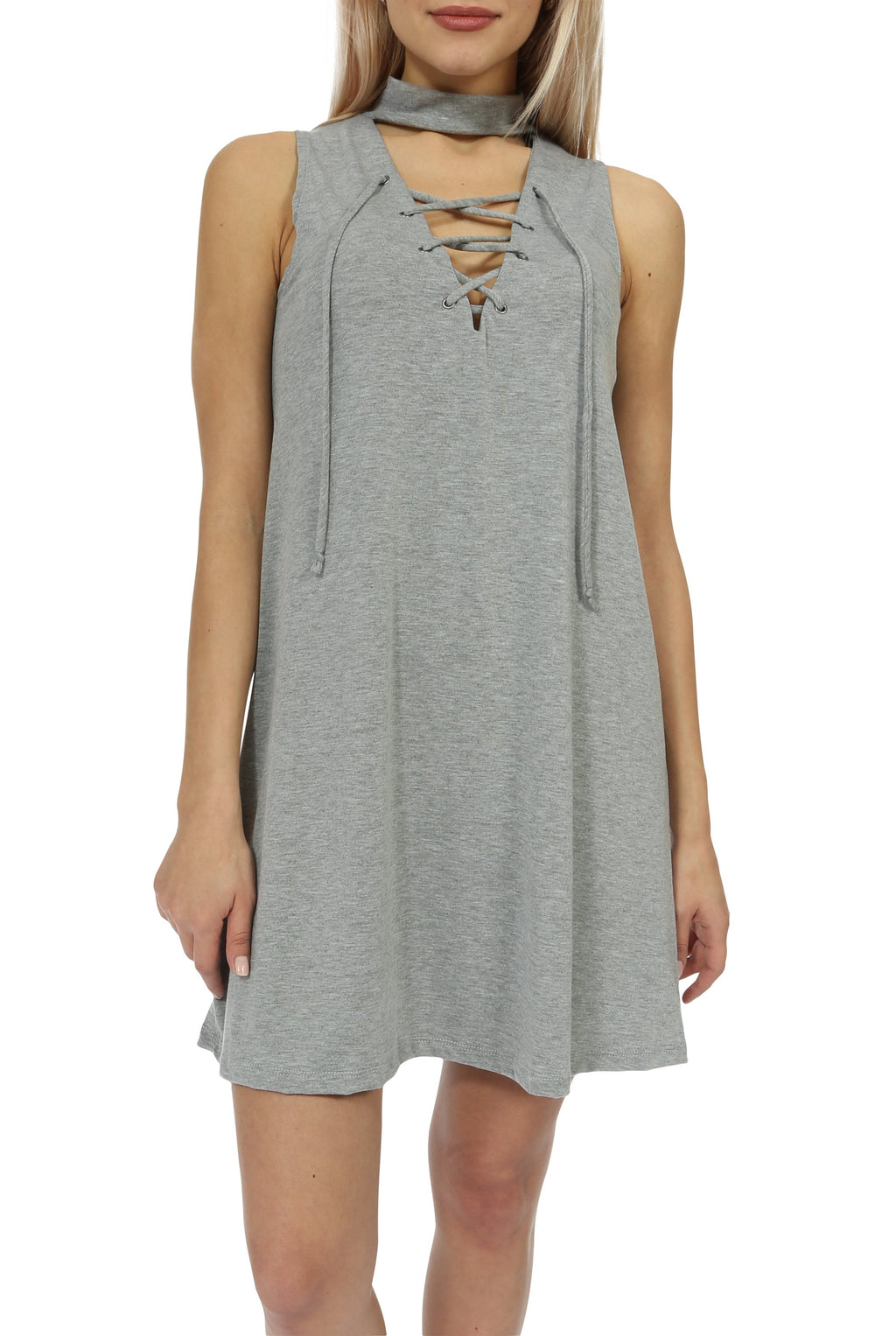 Teeze Me | Sleeveless Mock Neck Lace-Up Shift Dress | Heather Grey