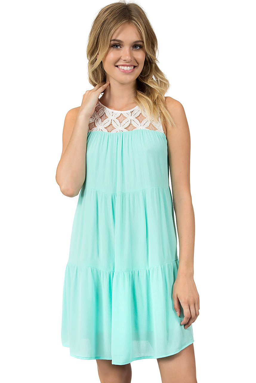 Teeze Me | Sleeveless Tiered Babydoll Dress | Off-White/Mint - Teeze Me