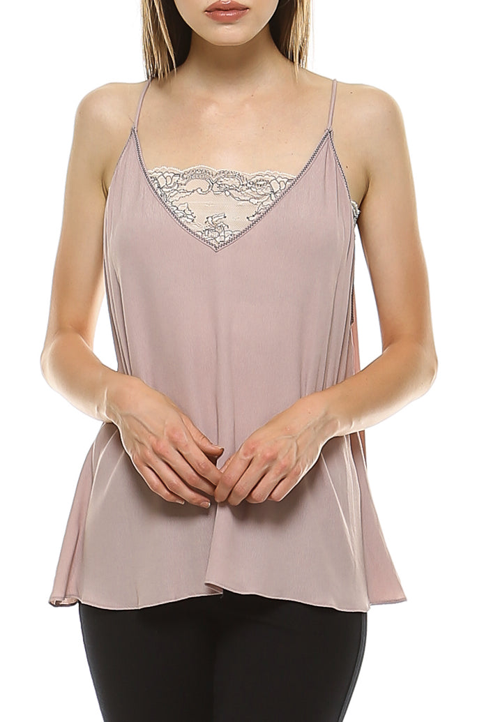 Teeze Me | Sleeveless Spaghetti Strap V Neck Scallop Lace Bandeau Cami | Smoke Rose