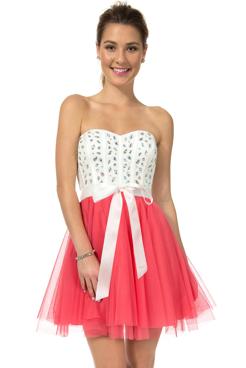 Teeze Me | Queen Colleen Strapless Corset Jewel Beaded Full Tulle Skirt Party Dress | Off-White/Shrimp