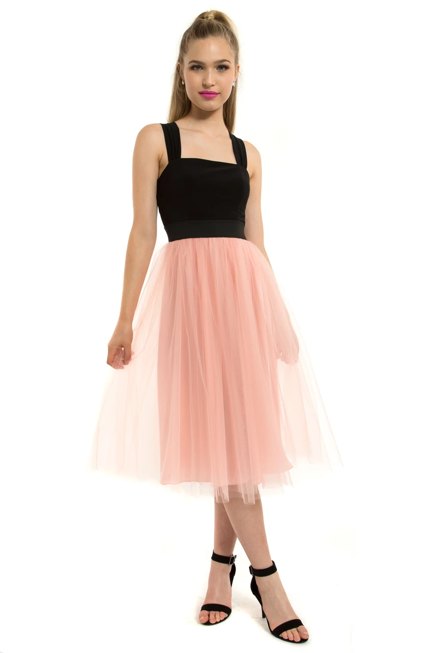 Teeze Me | Cross Back Tulle Skirt Midi Dress | Black/Pink