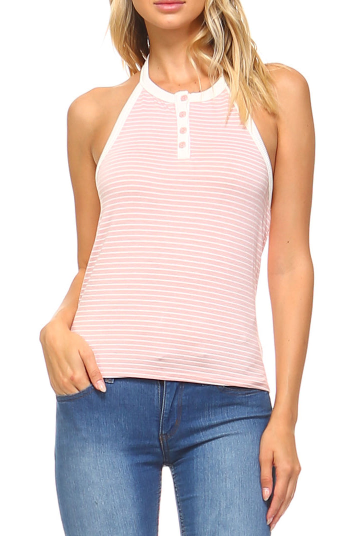 Teeze Me | Sleeveless Halter Button Down Half Placket Stripe Tank Top | Blush/White