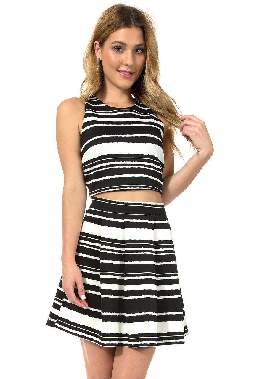 Teeze Me | Two-Piece Sleeveless Crop Top and Pleated Skirt  | Black/White - Teeze Me