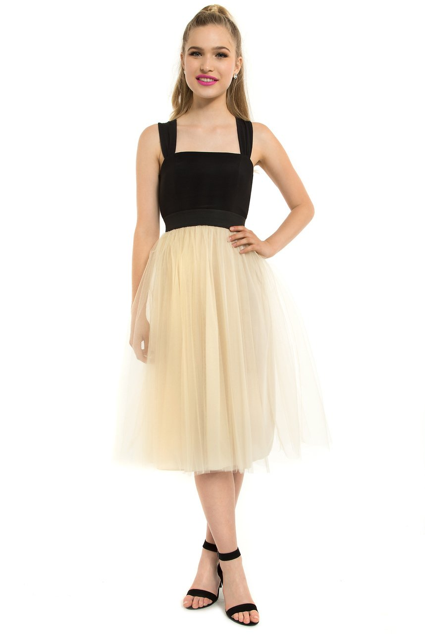 Teeze Me | Cross Back Tulle Skirt Midi Dress | Black/Champagne