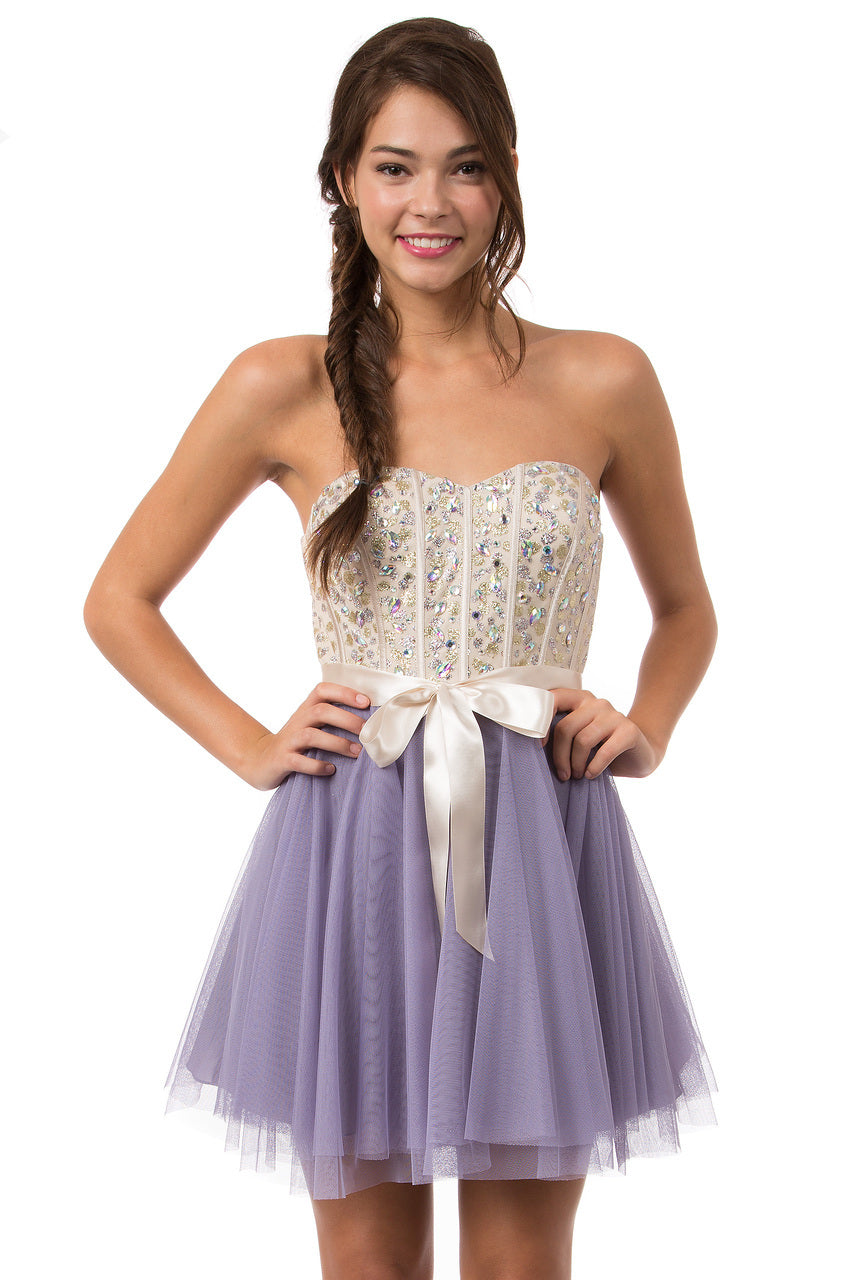 Teeze Me | Queen Colleen Strapless Corset Jewel Beaded Full Tulle Skirt Party Dress | Champagne/Lilac