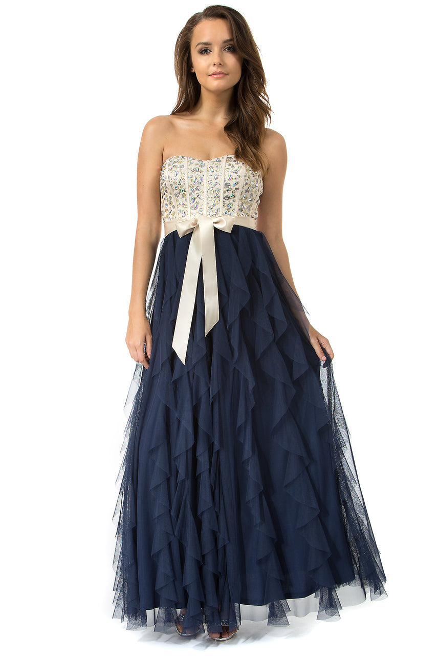 Teeze Me | Queen Colleen Strapless Corset Jewel Beaded Full Tulle Ruffle Skirt Party Dress | Champagne/Navy - Teeze Me