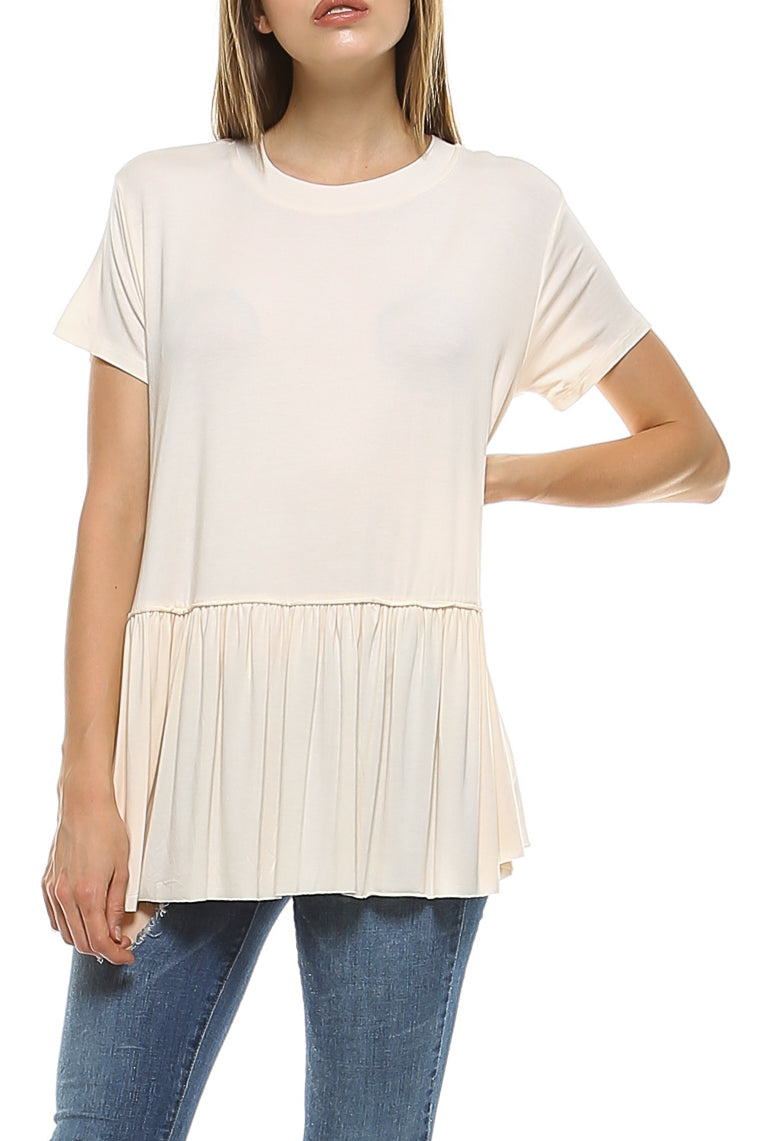 Teeze Me | Short Sleeve Crew Neck Dropped Waist Ruffle Hem Top  | Cream