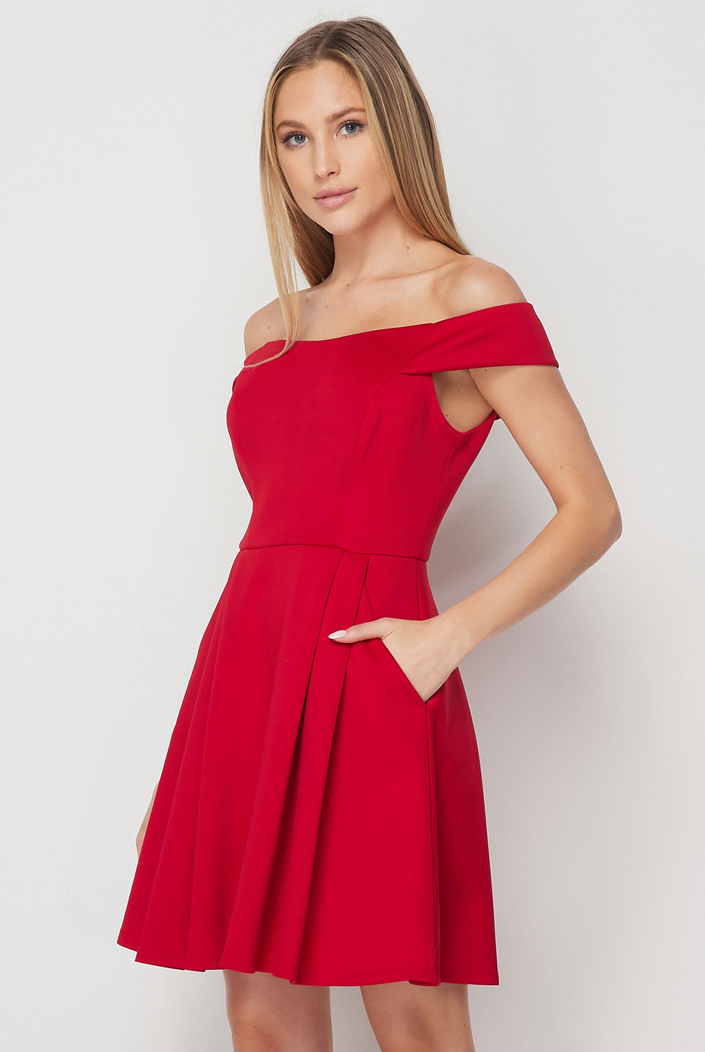 Teeze Me | Off the Shoulder Skater Dress With Pockets | Red
