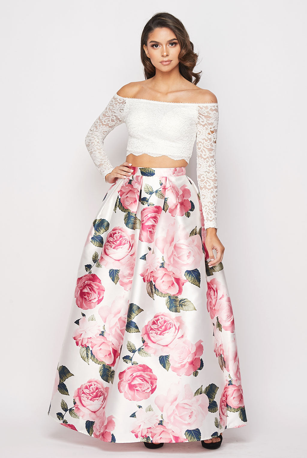 Teeze Me | Two-Piece Lace and Floral Gown | White/Blush