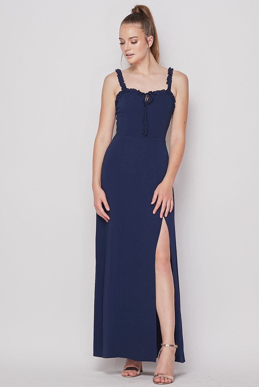 Teeze Me | Sleeveless Solid Front Slit Maxi Dress | Navy