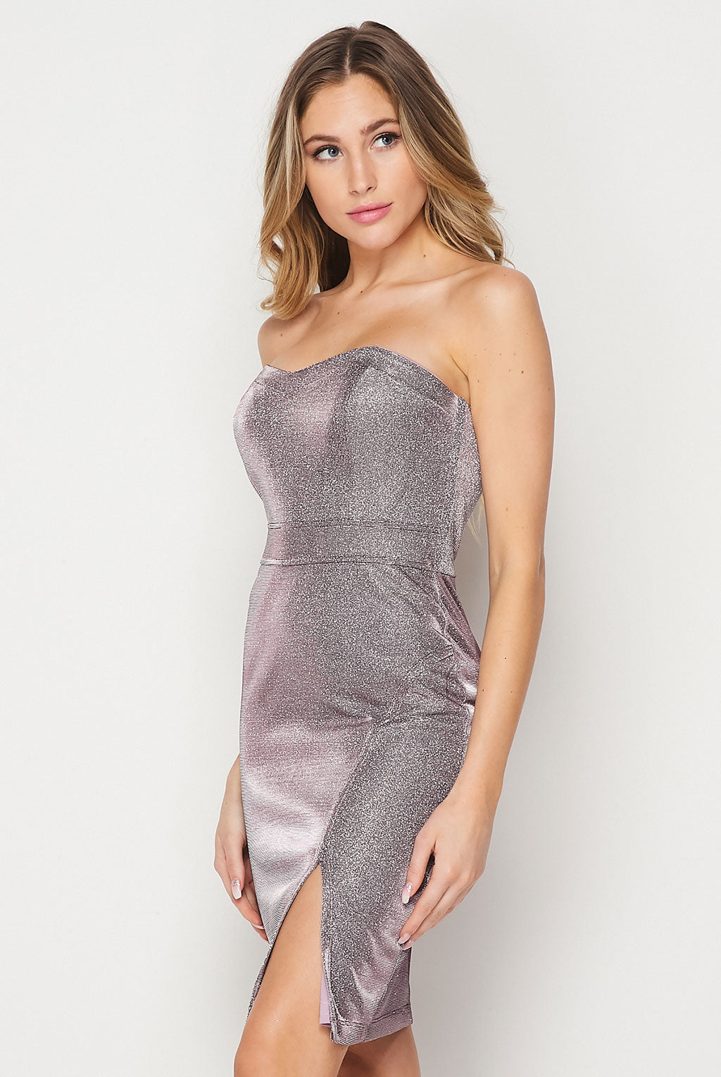 Teeze Me | Strapless Front Slit Glitter Fitted Dress | Lilac/Silver