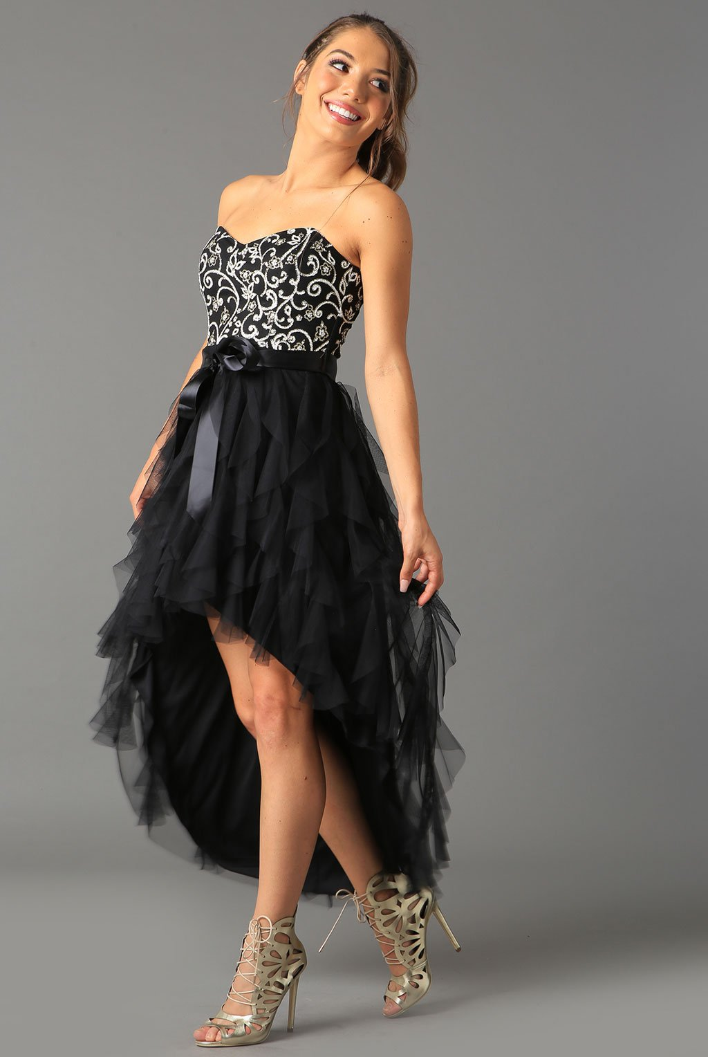 Teeze Me | Strapless Glitter Mesh High-Low Ruffle Dress | Black