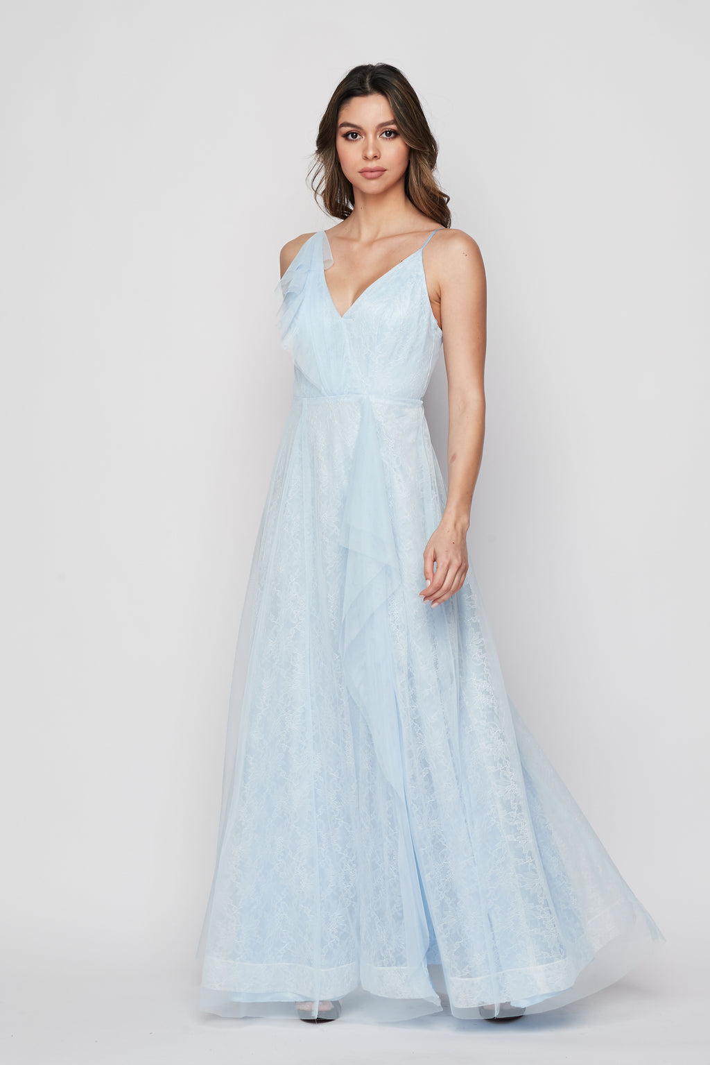 Teeze Me | Flowy Ruffle And Lace With Slit Gown | Light Blue