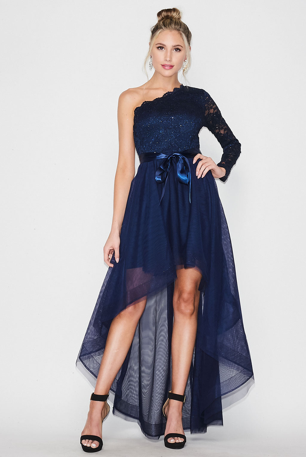 Teeze Me | One Shoulder Long Sleeve High Low Dress Prom | Navy