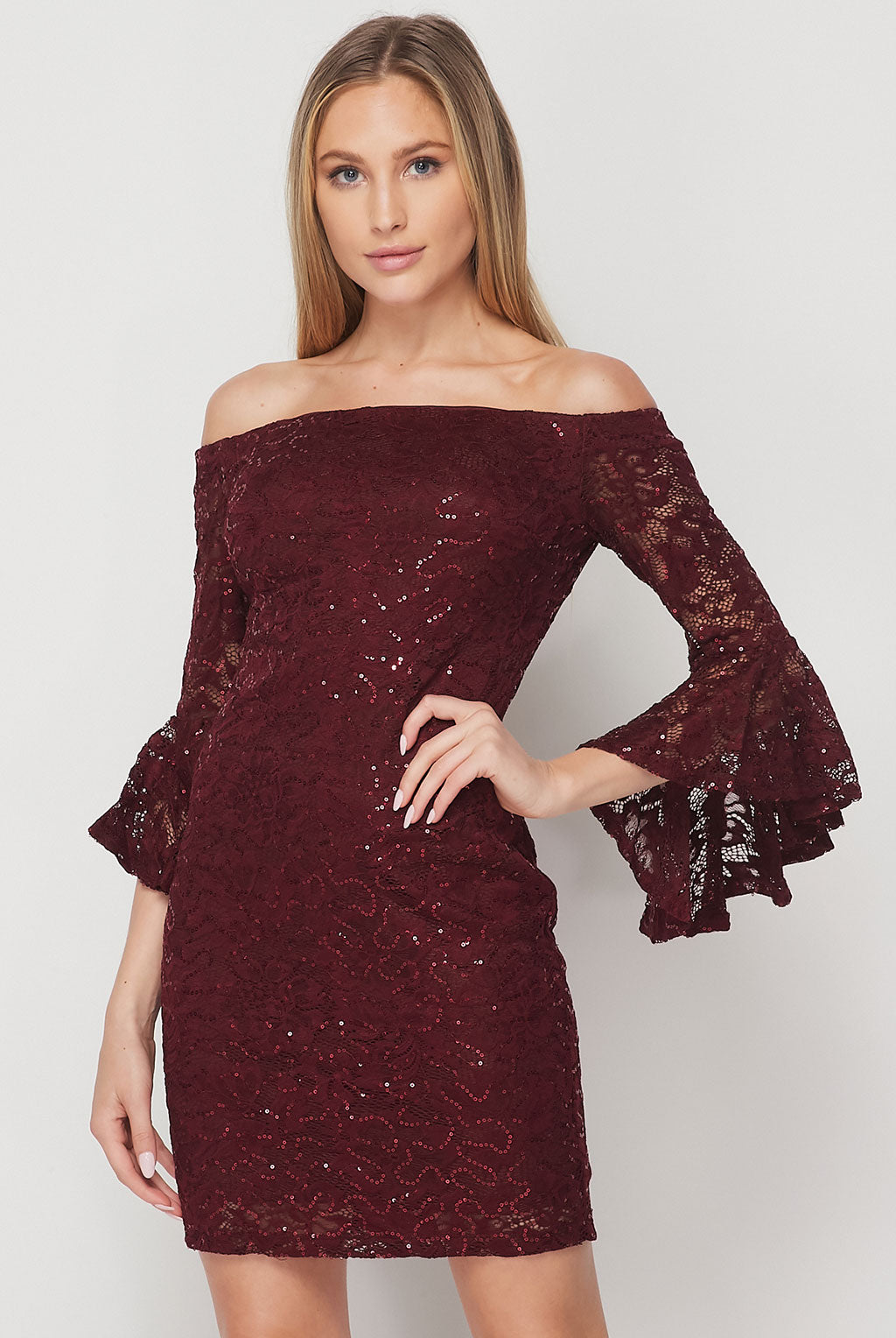 Teeze Me | Ruffle Sleeve Off-The-Shoulder Sequin Lace Dress | Burgundy