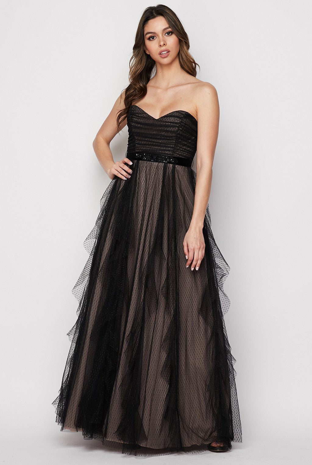 Teeze Me | Strapless Contrasting Layered Mesh Gown | Black/Nude