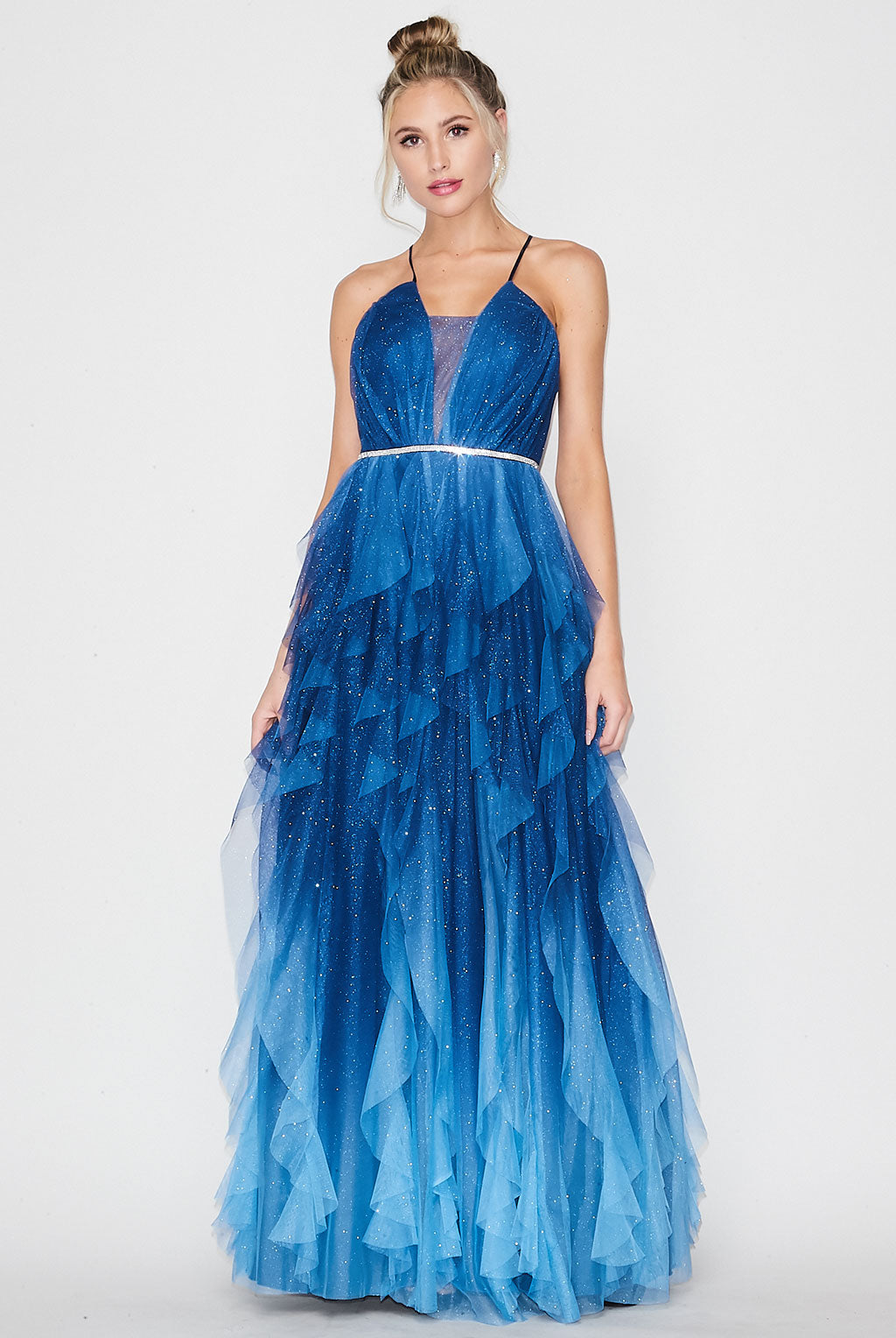 Teeze Me | Spaghetti Strap Ombre Long Prom Dress | Blue Ombre