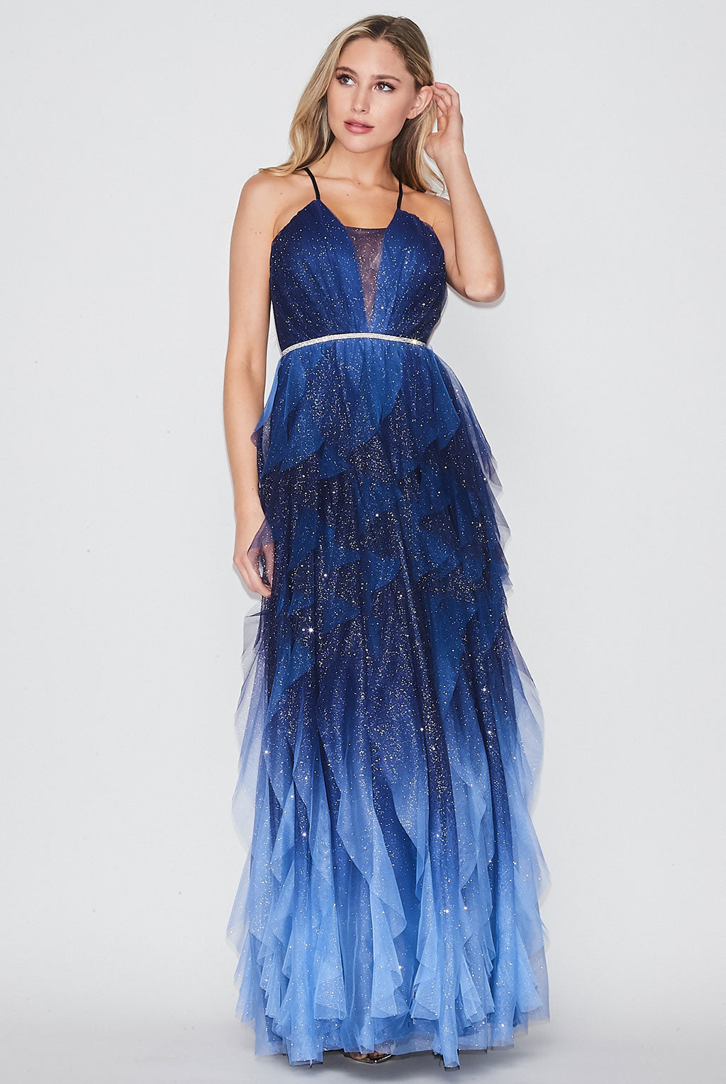 Teeze Me | Spaghetti Strap Ombre Long Prom Dress | Royal/Perri