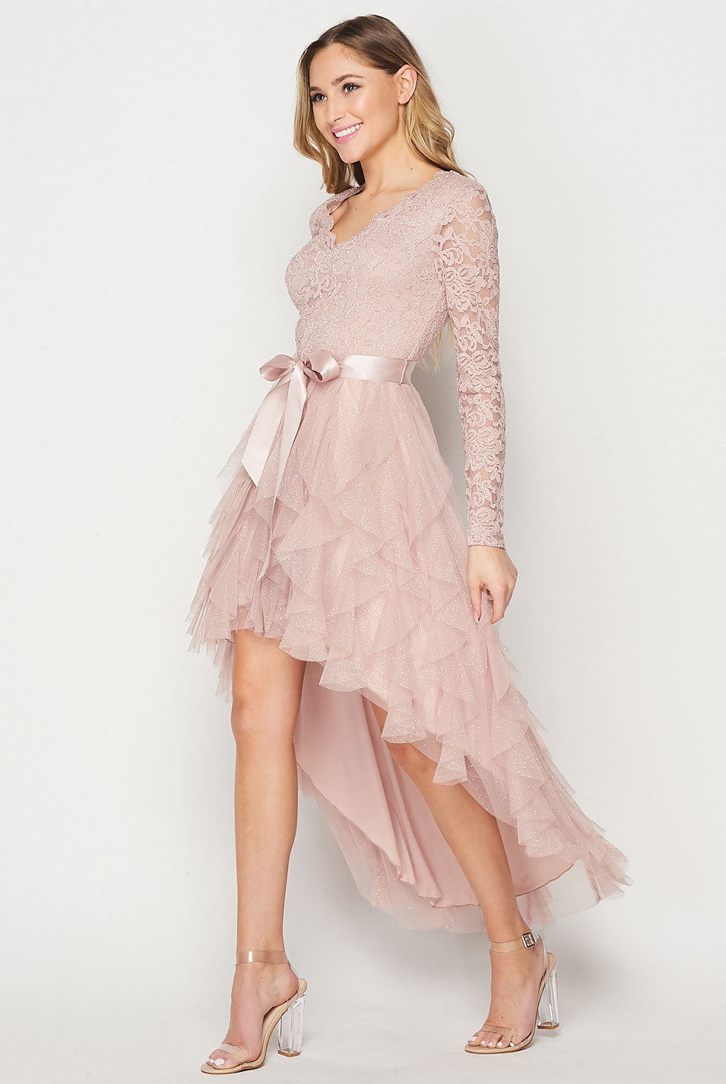Teeze Me | Long Sleeve Petal Skirt High Low Dress | Blush
