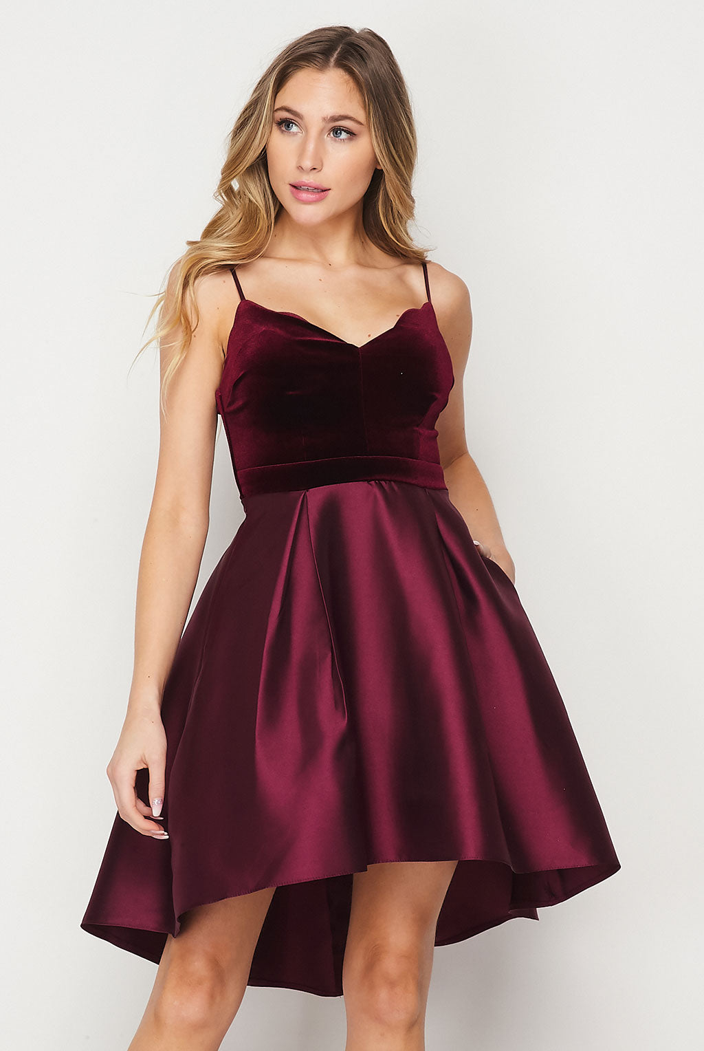 Teeze Me | High-Low Velvet Top W/ Pockets Dress | Burgundy