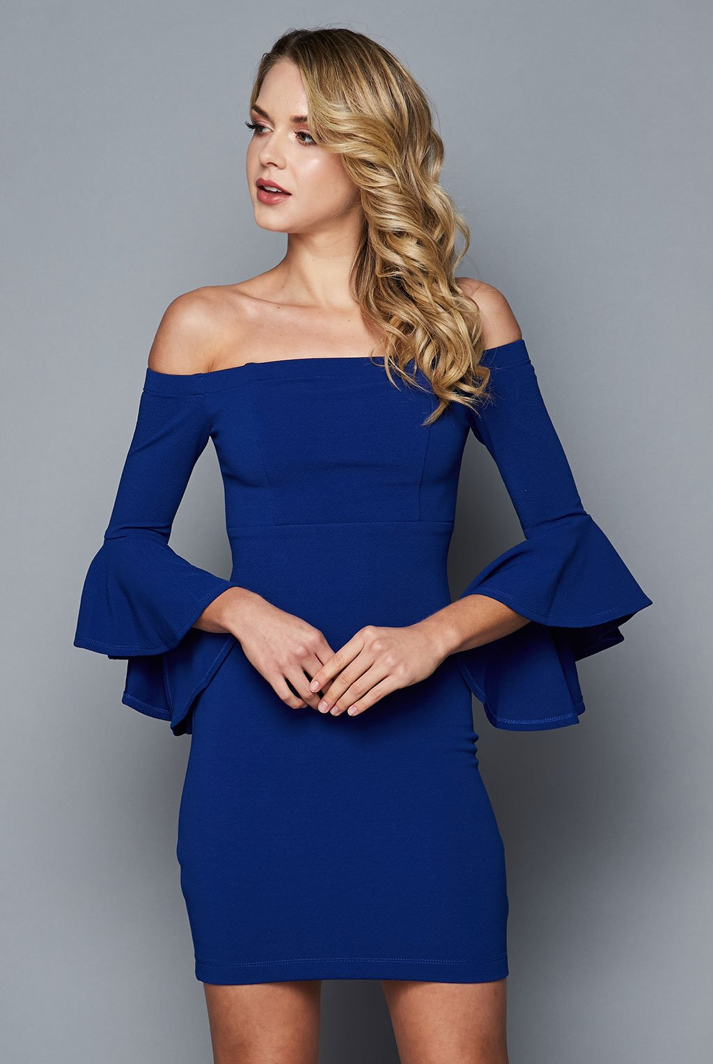 Teeze Me | Off-The-Shoulder Ruffle Sleeve Dress | Royal