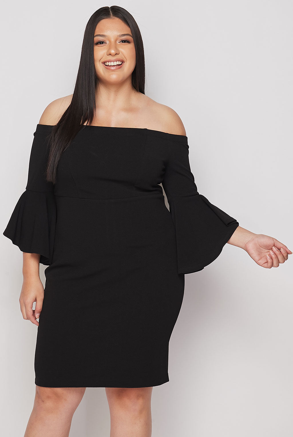 Teeze Me | Off-The-Shoulder Ruffle Sleeve Dress Plus | Black