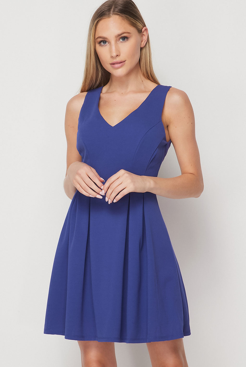 Teeze Me | V-neck Pleated Skater Dress | Blue Jean