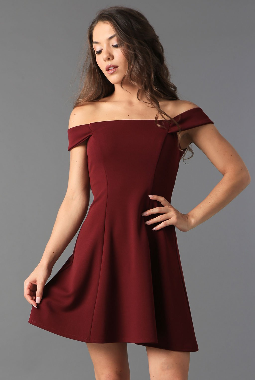 Teeze Me | Off-The-Shoulder Fit-and-Flare Dress | Wine