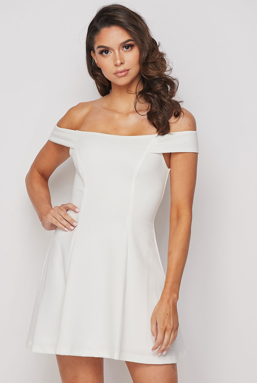 Teeze Me | Off-The-Shoulder Fit-and-Flare Dress | White