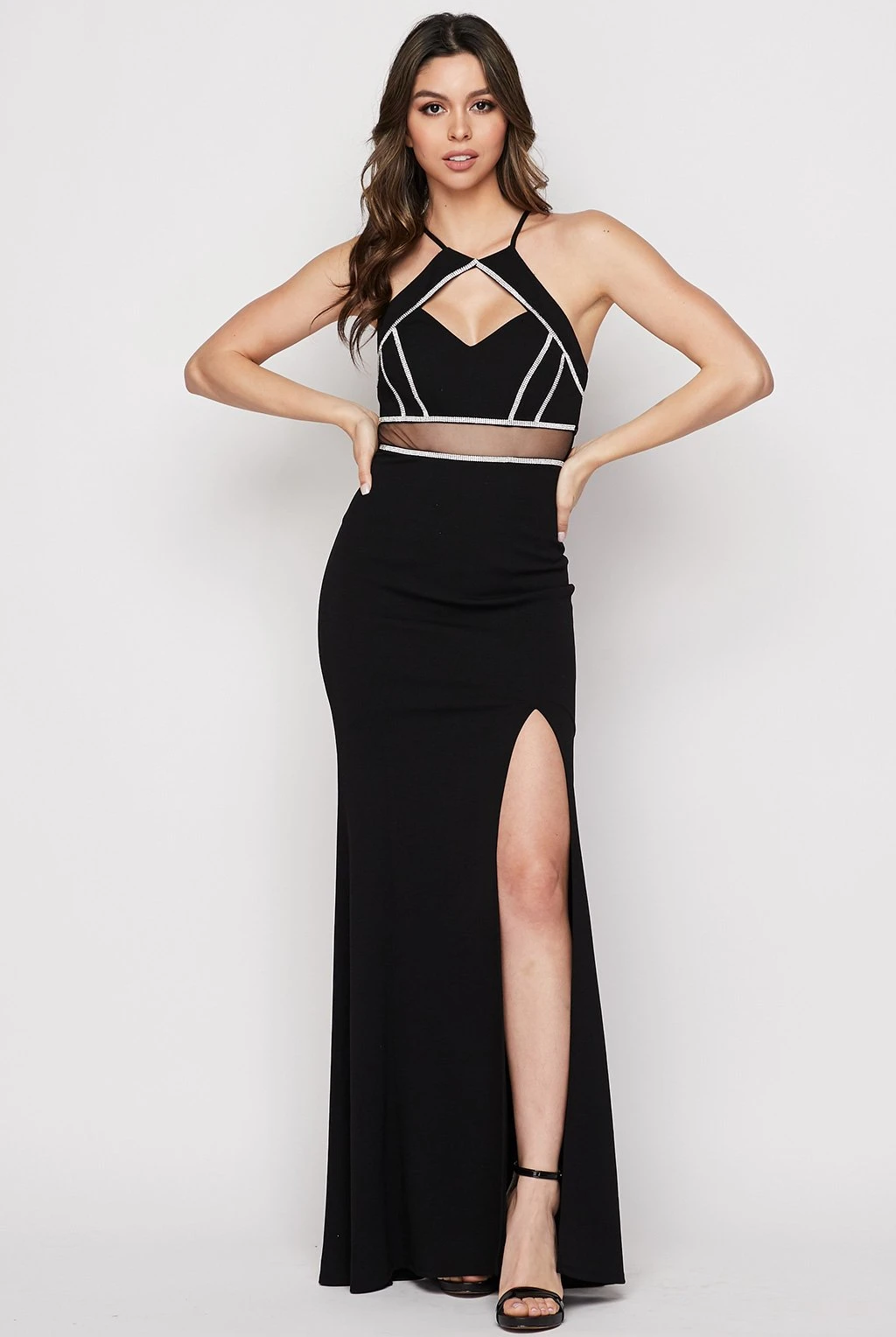 Teeze Me | Halter Fitted Illusion Waist Gown | Black