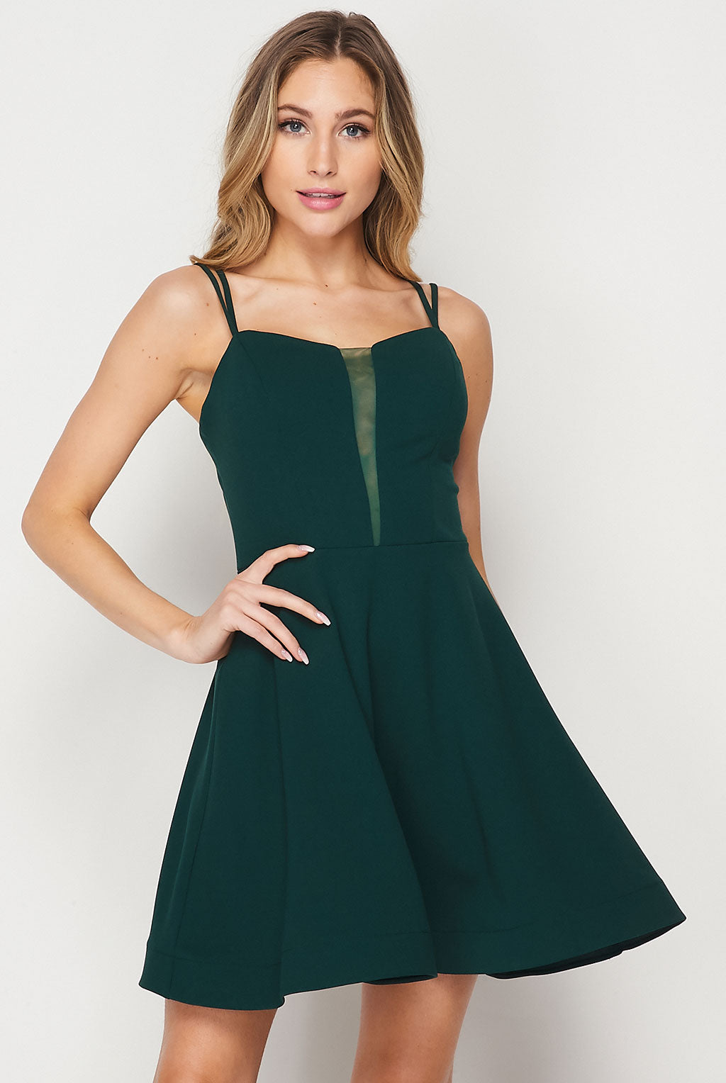 Teeze Me | Double Strap Sheer Detail Fit And Flare Dress | Hunter Green