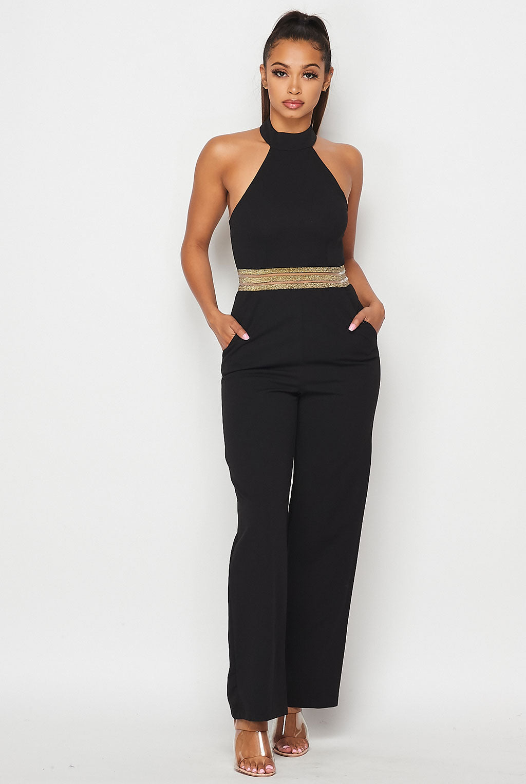 Teeze Me | Halter Neck Metallic Waist Pockets Jumpsuit | Black/Gold