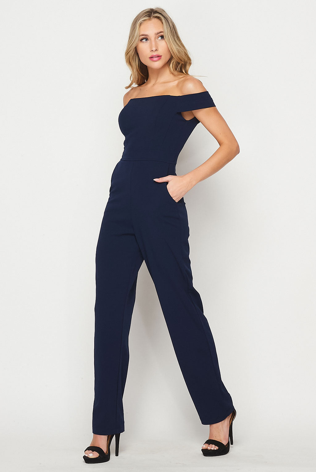 Teeze Me | Off The Shoulder W/ Pockets Jumpsuit | Navy