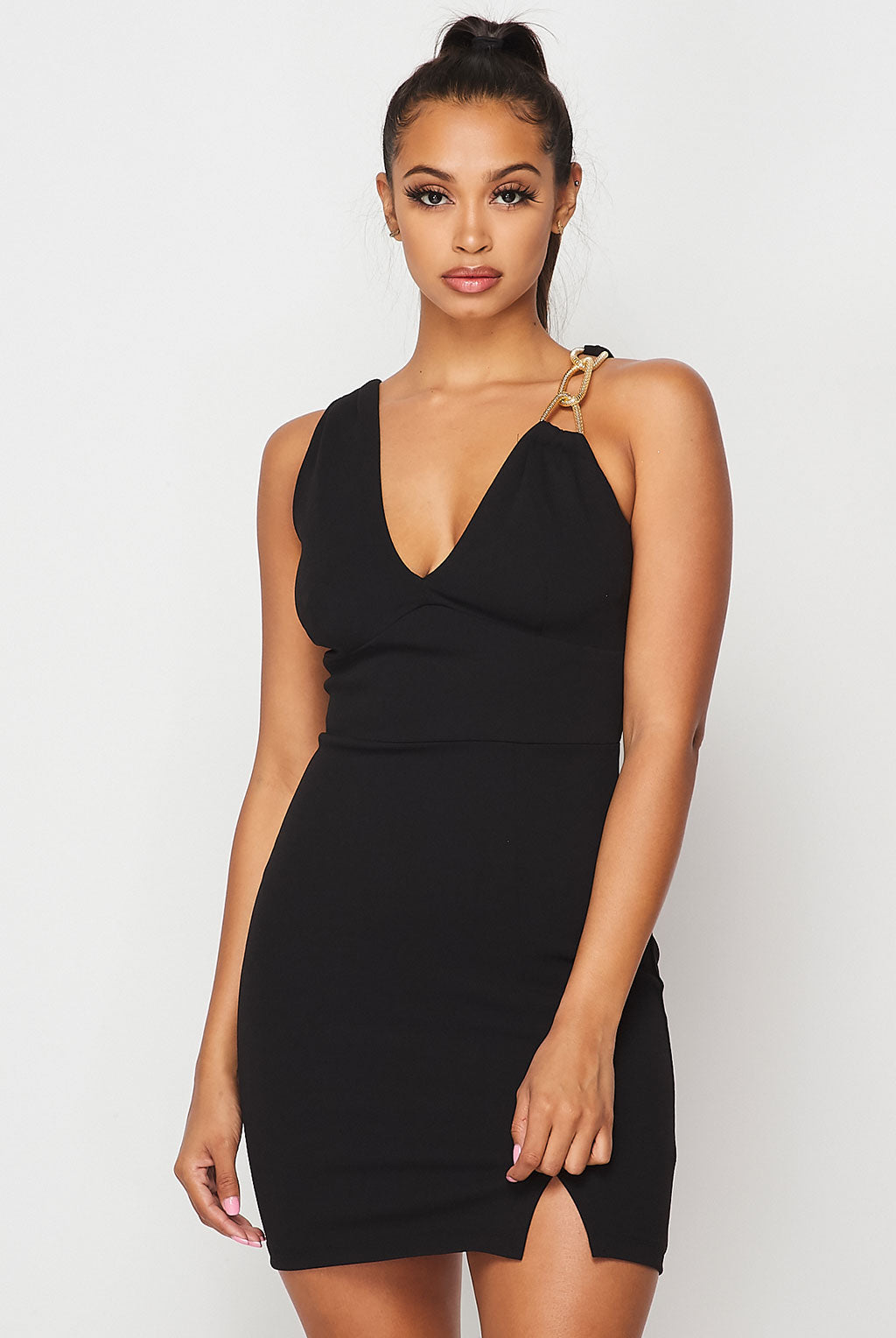 Teeze Me | Chain Strap Front Slit Fitted Dress | Black/Gold