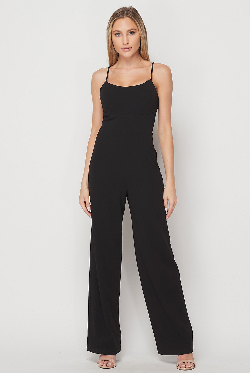 Teeze Me | Spaghetti Strap Strappy Back Tie Jumpsuit | Black