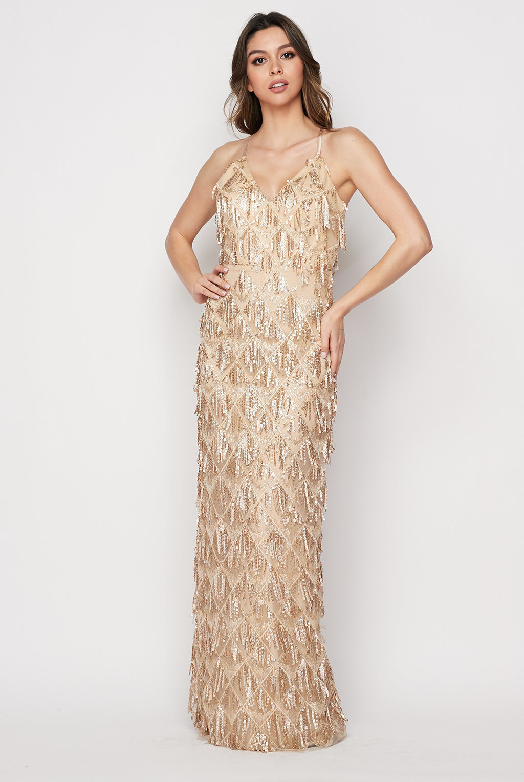 Teeze Me | Fringe Sequin Column Formal Gown | Gold