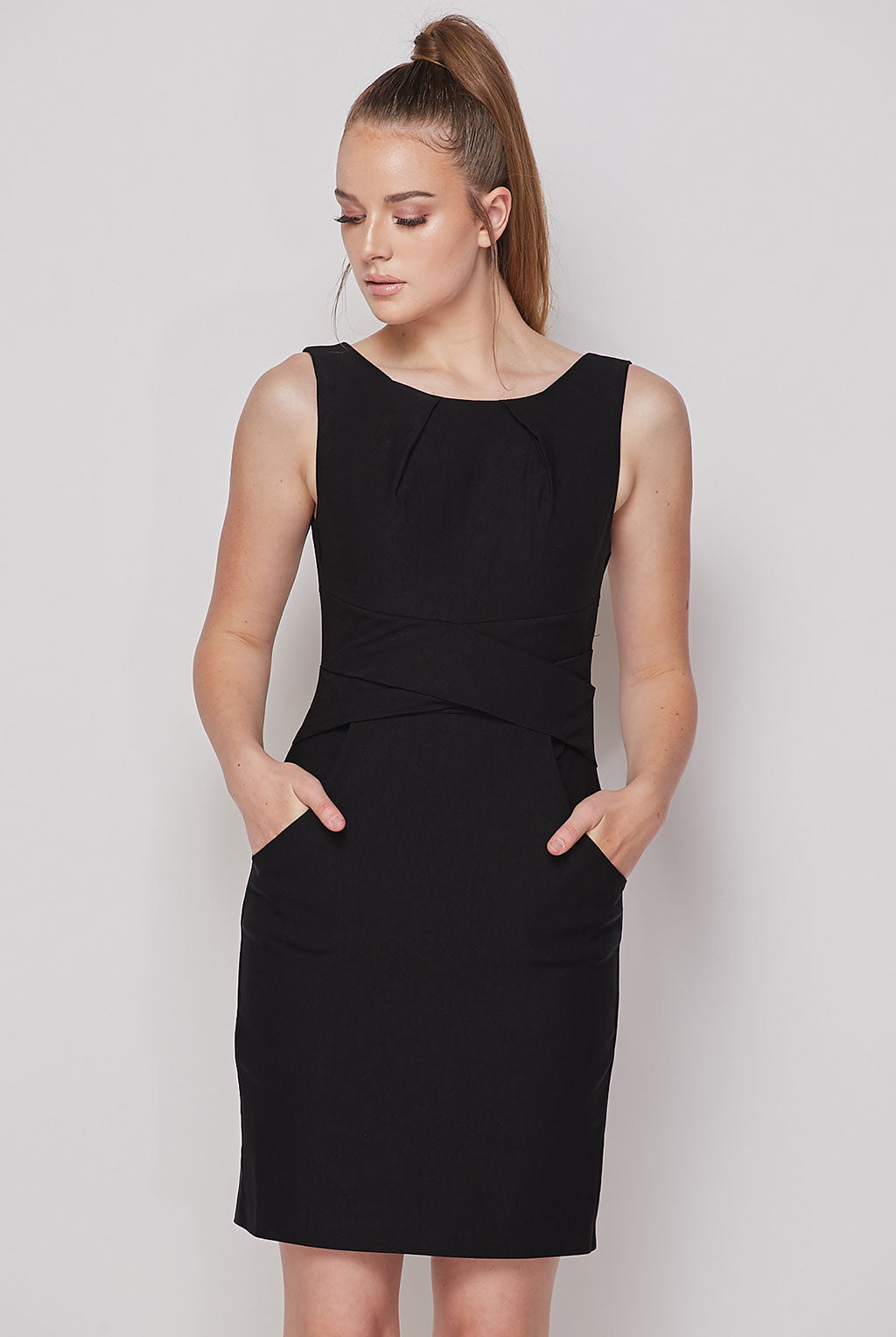 Teeze Me | Cross Waist Sheath Career Dress With Pockets | Black