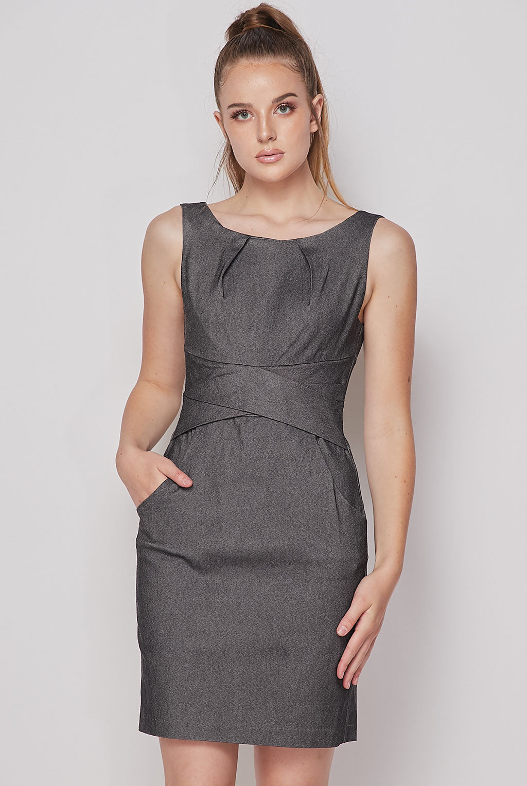 Teeze Me | Cross Waist Sheath Career Dress With Pockets | Charcoal