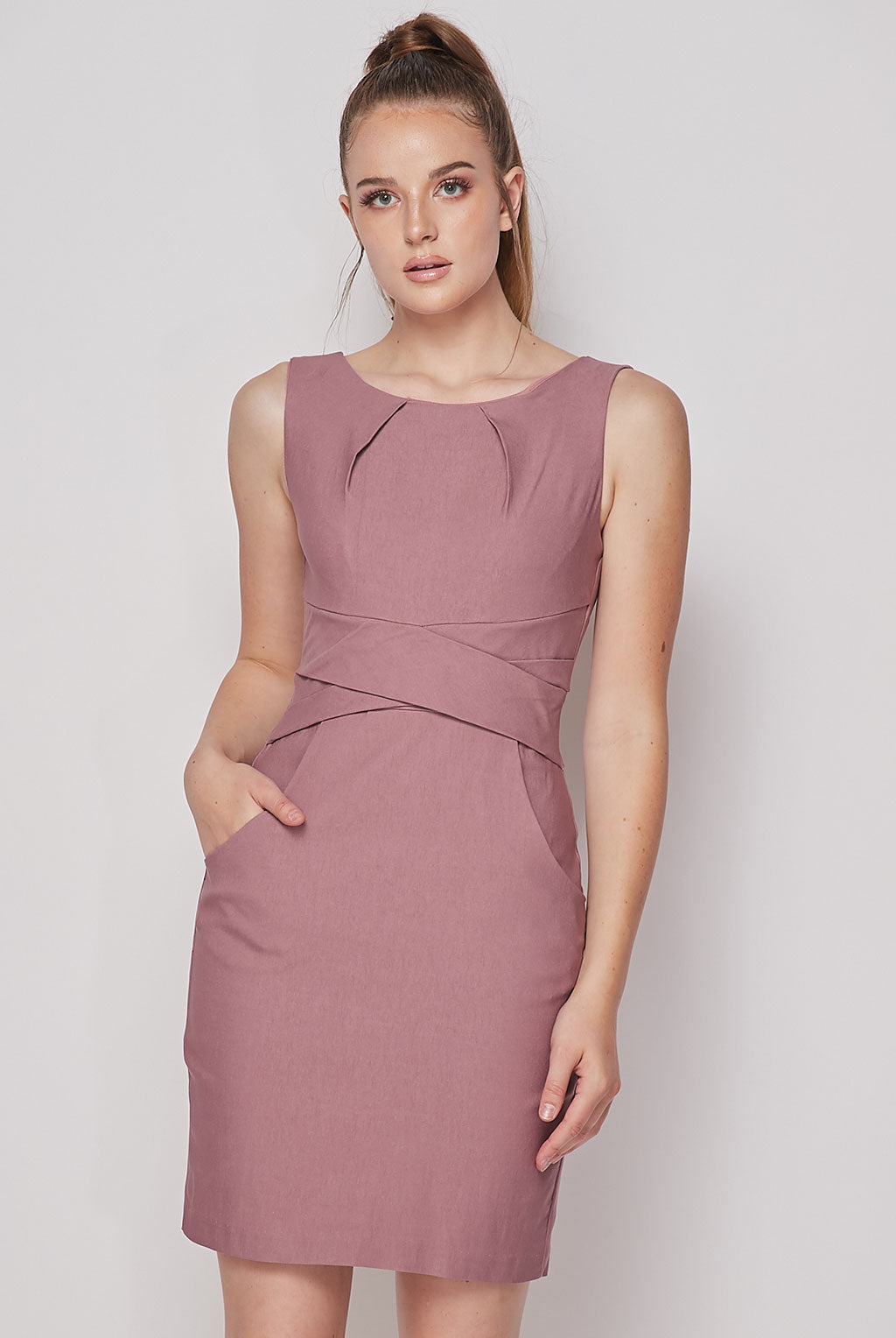 Teeze Me | Cross Waist Sheath Career Dress With Pockets | Mauve