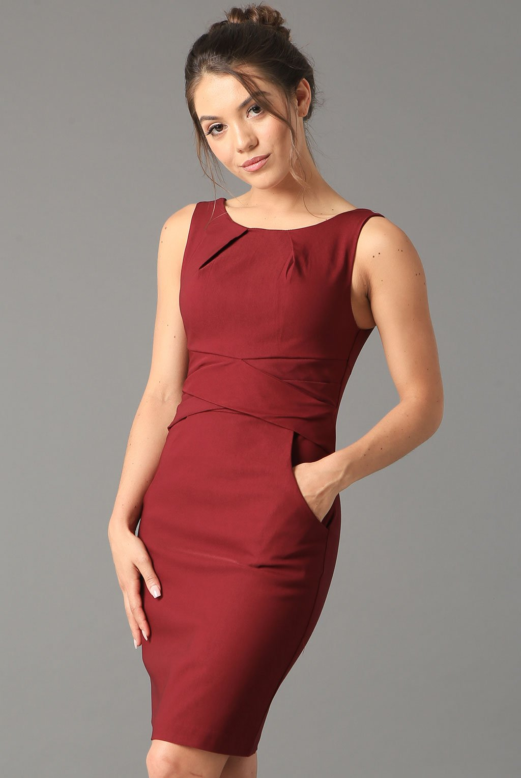 Teeze Me | Cross Waist Sheath Career Dress With Pockets | Burgundy