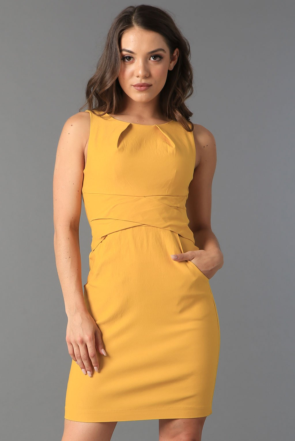 Teeze Me | Cross Waist Sheath Career Dress With Pockets | Gold
