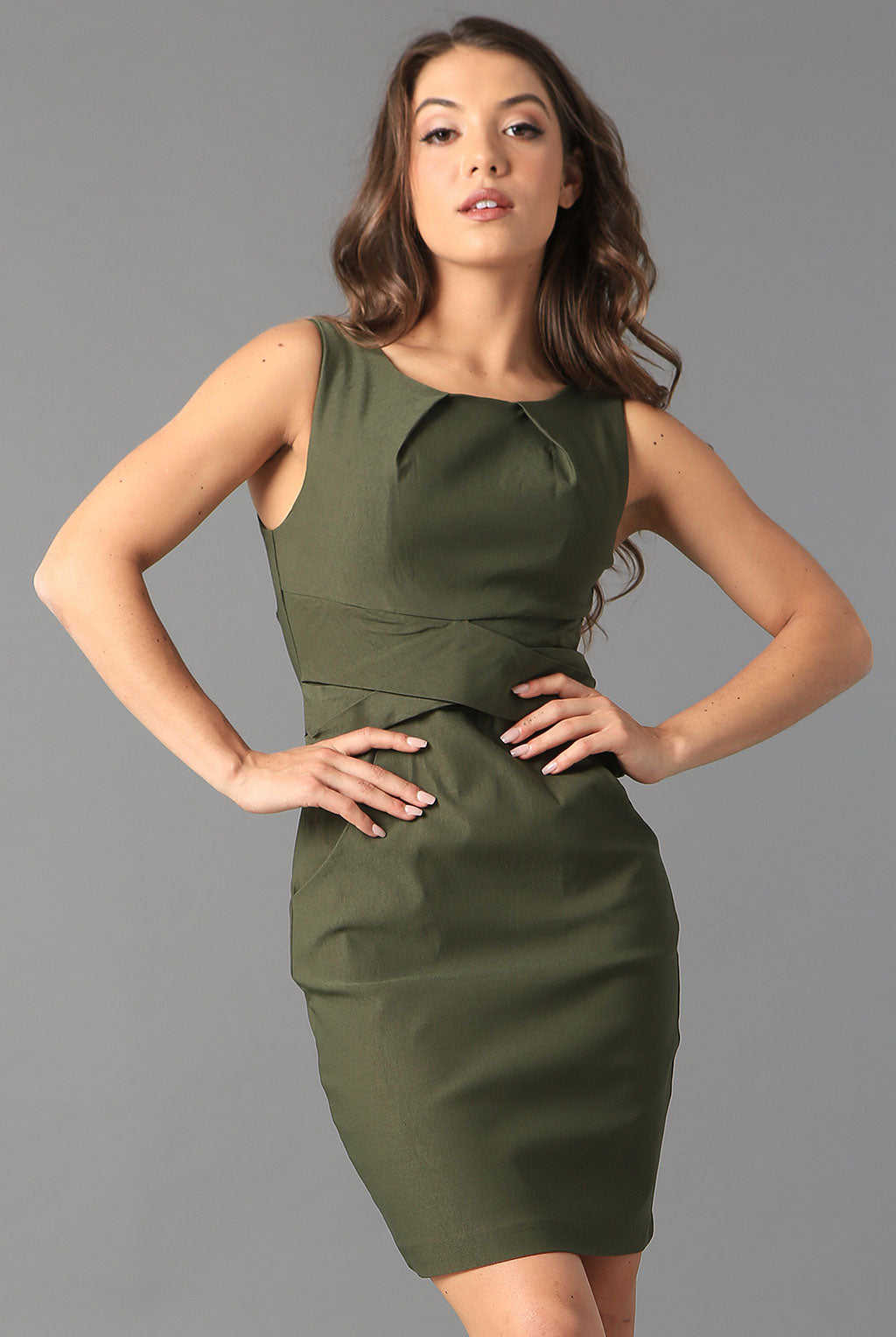 Teeze Me | Cross Waist Sheath Career Dress With Pockets | Olive