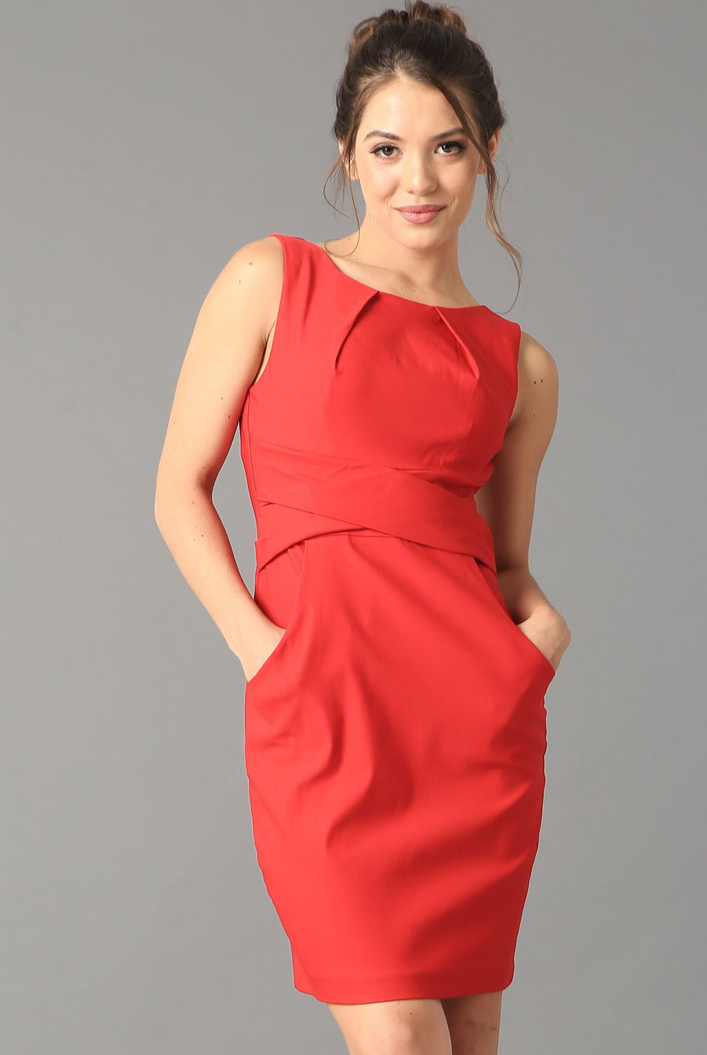 Teeze Me | Cross Waist Sheath Career Dress With Pockets | Red