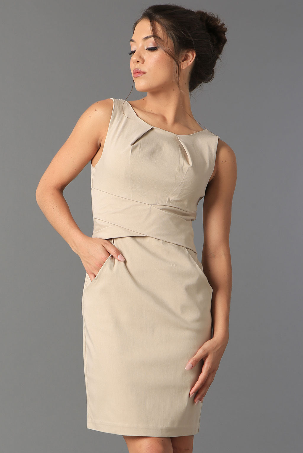 Teeze Me | Cross Waist Sheath Career Dress With Pockets | Sand
