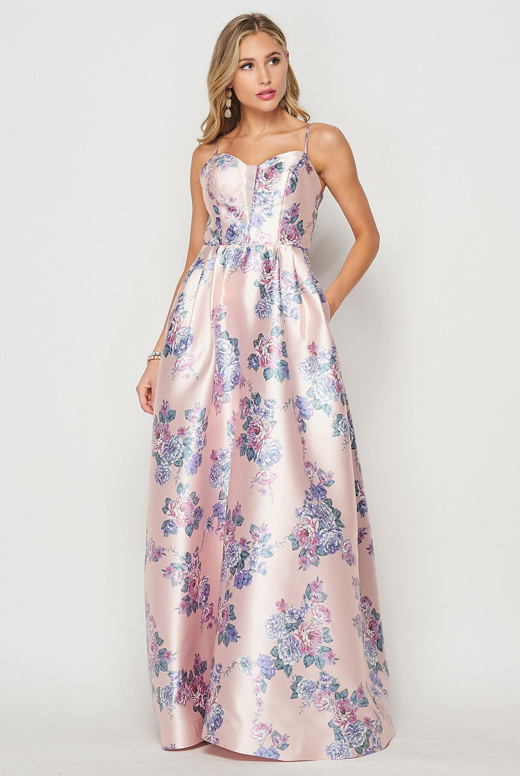 Teeze Me | Shiny Printed Ball Gown Dress Prom | Blush