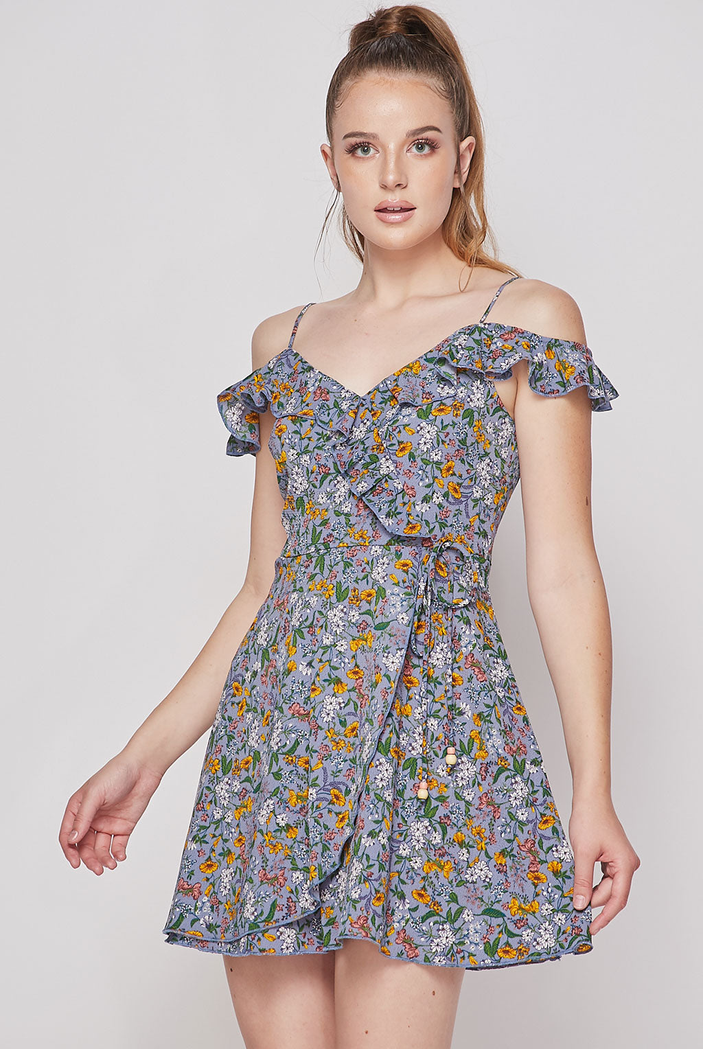 Teeze Me | Cold Shoulders Ruffles Wrap Dress Floral | Dark Perry