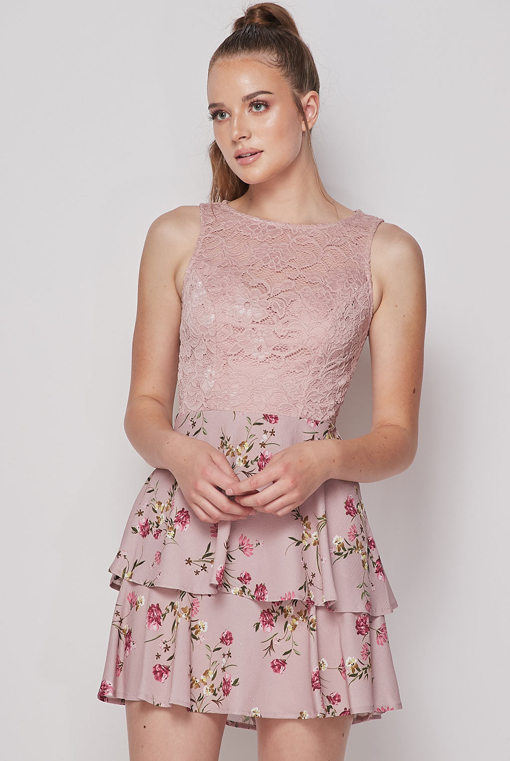 Teeze Me | Sleeveless Lace Top Printed Skirt | Dusty Rose