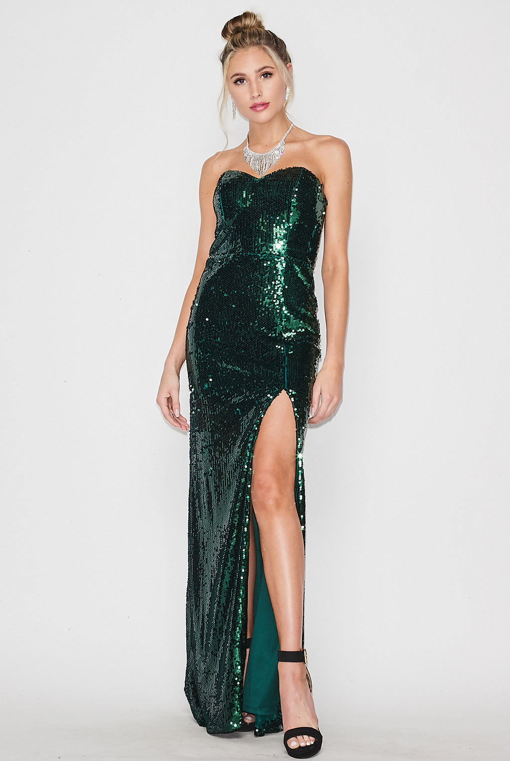 Teeze Me | Strapless Sweetheart Neck All Sequin Long Formal Dress | Emerald